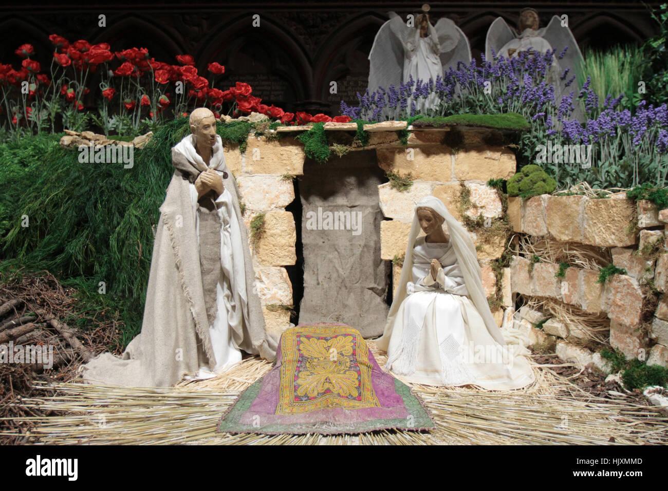 La Sainte Famille. Crèche. - Stock Image