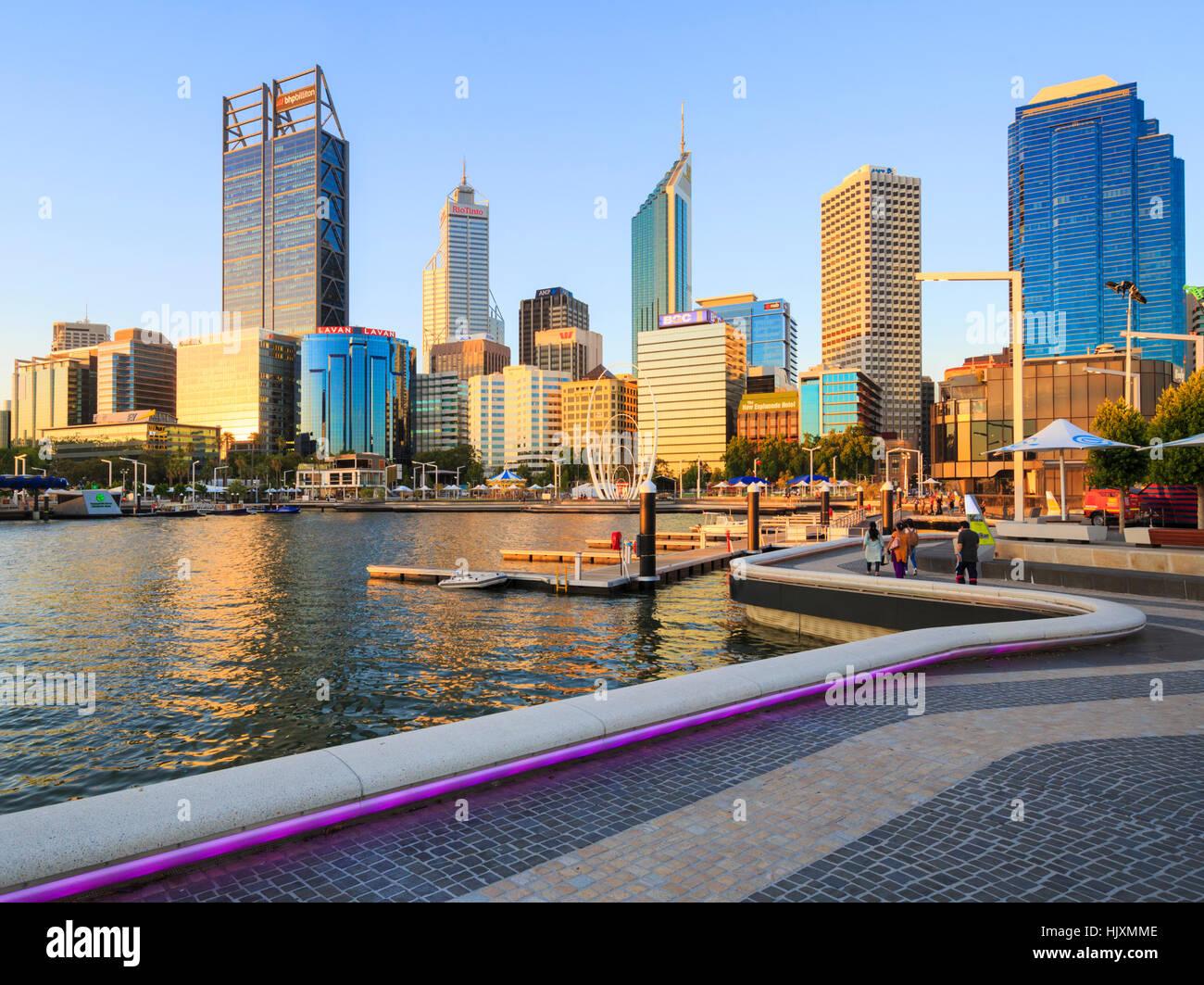 Elizabeth Quay in the late evening summer sun. Perth, Australia - Stock Image