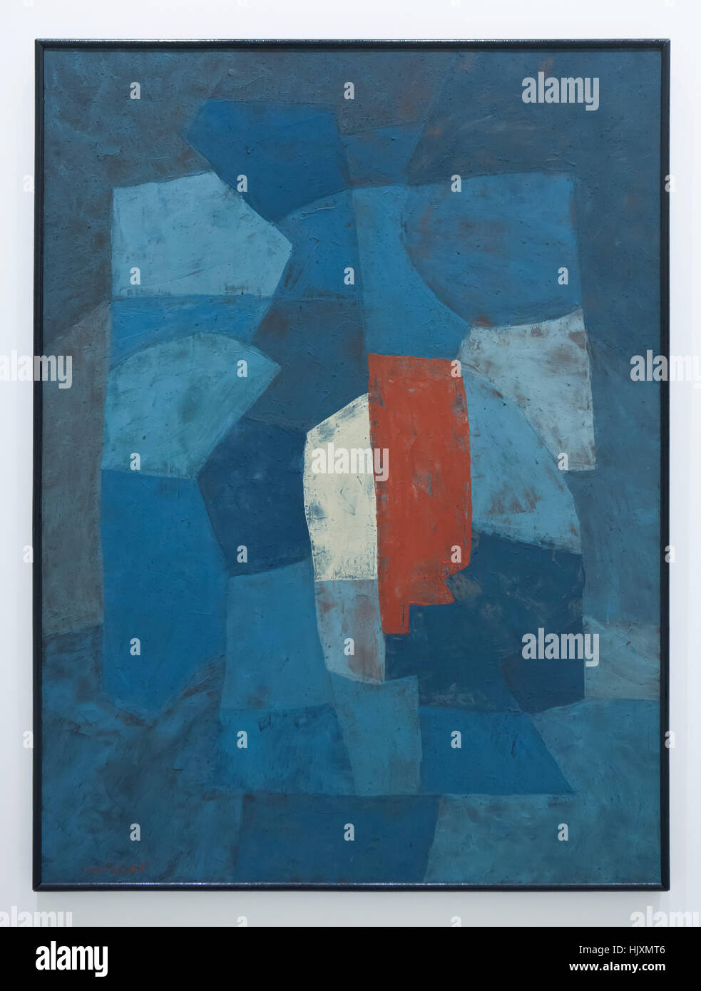 Painting Blue Composition (1953-1954) by Russian-French modernist painter Serge Poliakoff on display in the Musee - Stock Image