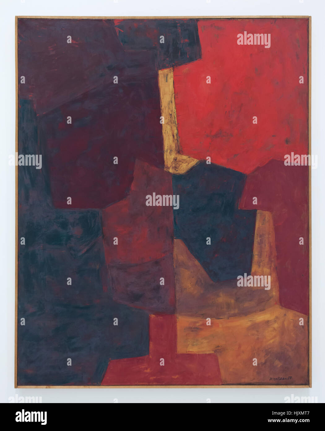 Painting Red Composition (1963) by Russian-French modernist painter Serge Poliakoff on display in the Musee d'Unterlinden - Stock Image