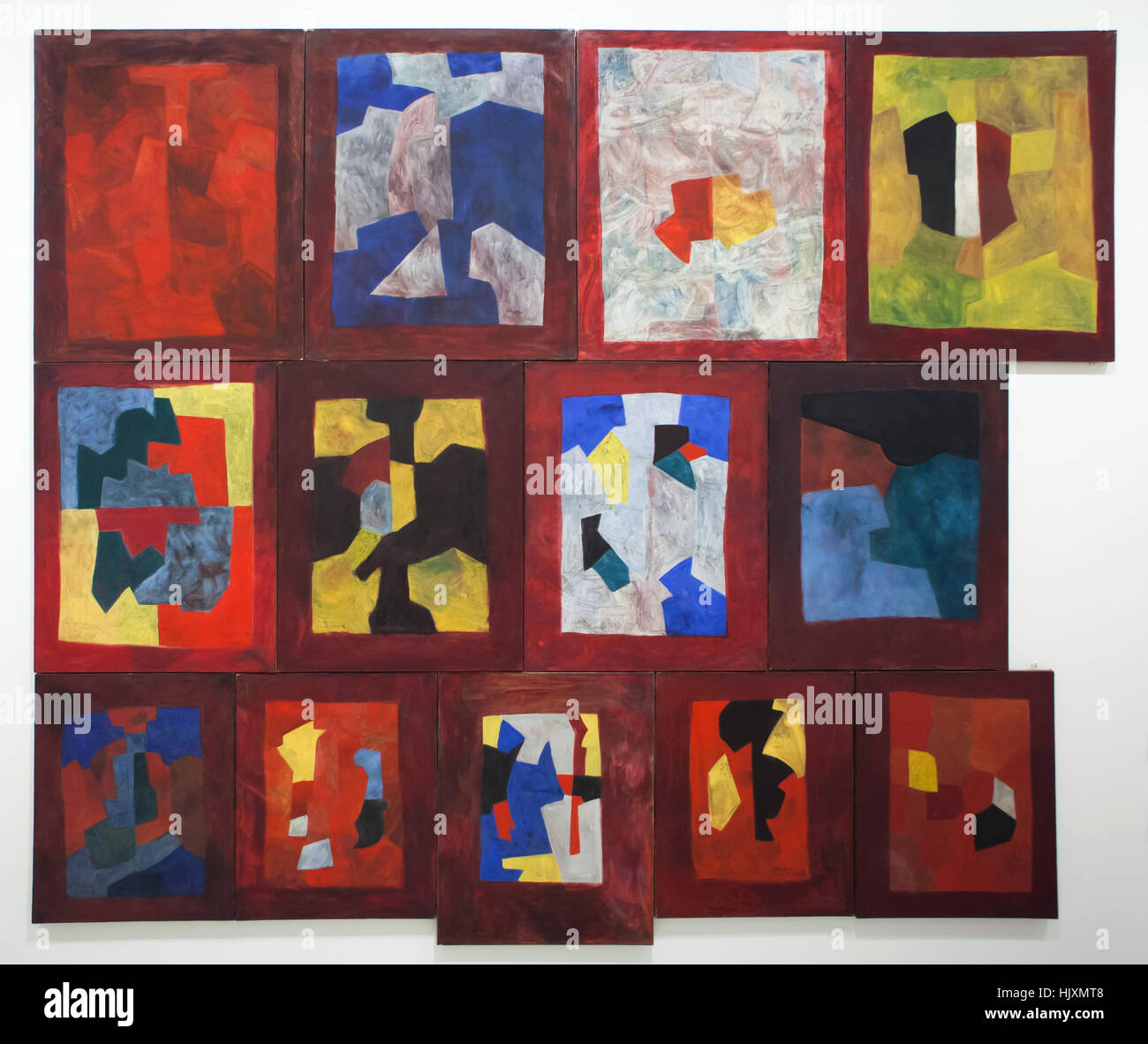 Painting Mural Composition (1965-1967) by Russian-French modernist painter Serge Poliakoff on display in the Musee - Stock Image