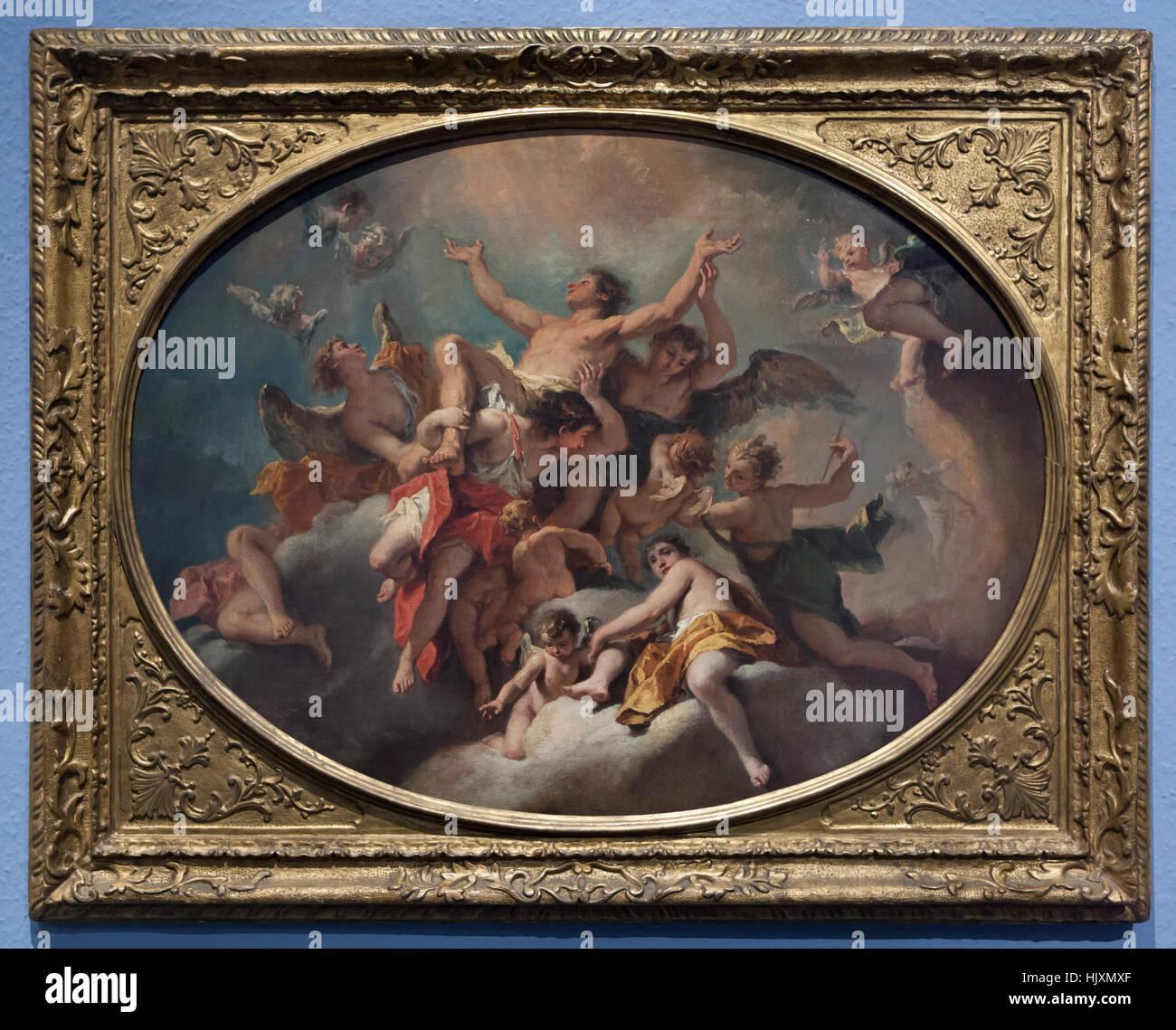 Painting Apotheosis of Saint Sebastian (1725) by Italian Baroque painter Sebastiano Ricci on display in the Musee Stock Photo
