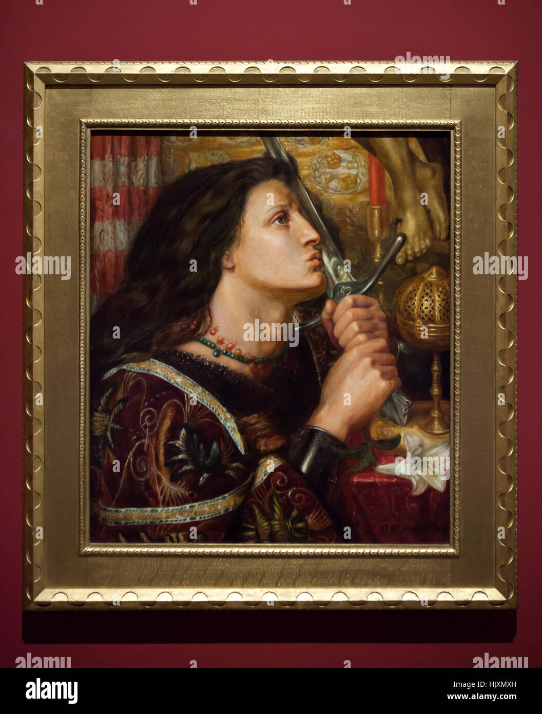 Painting Joan of Arc Kissing the Sword of Deliverance (1863) by English Pre-Raphaelite painter Dante Gabriel Rossetti Stock Photo