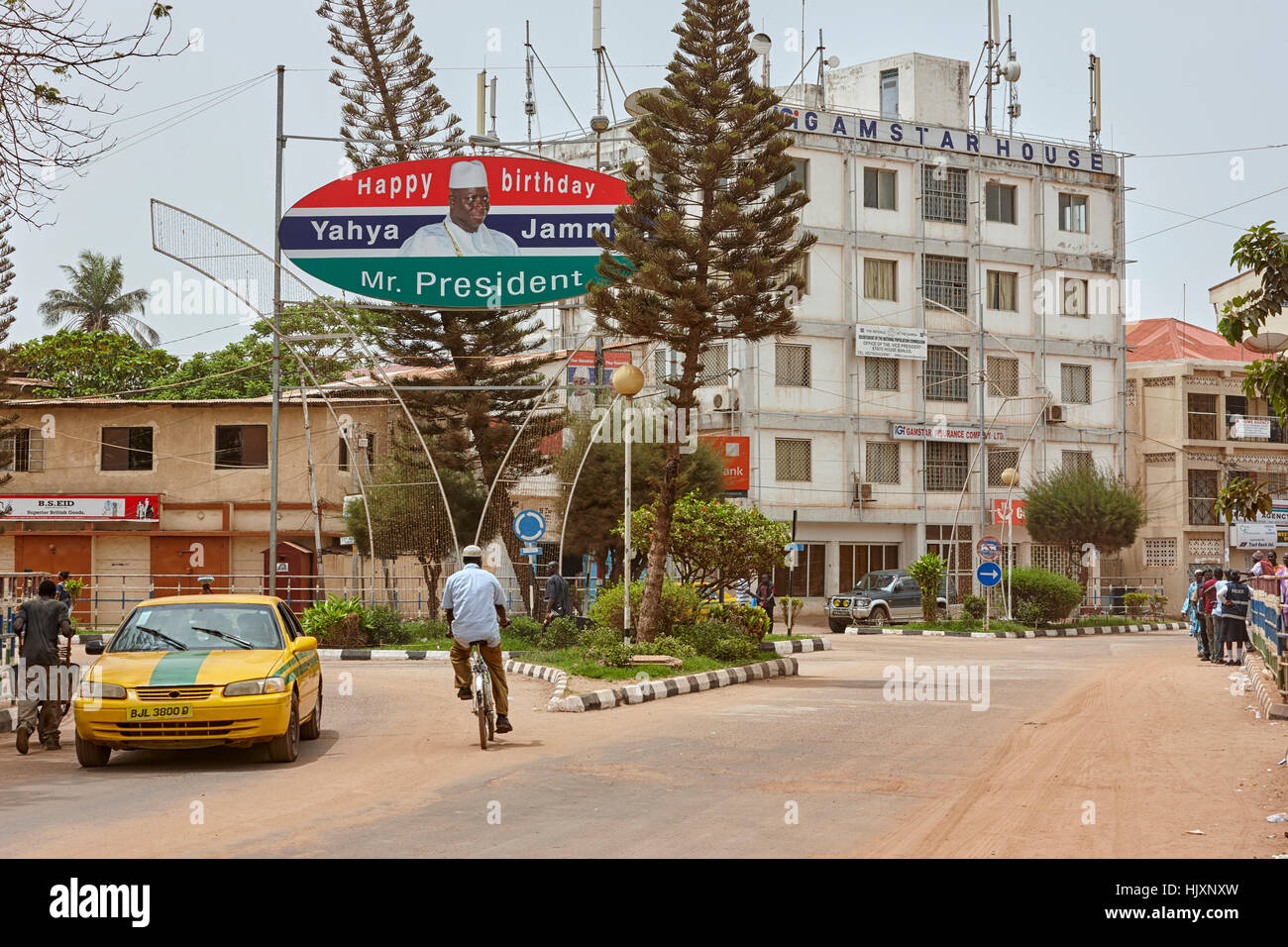 Birthday sign for president Yahya Jammeh on Independence Way, Banjul