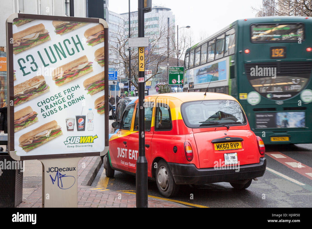 Bill Board Just Eat Advertising On Manchester Taxi With