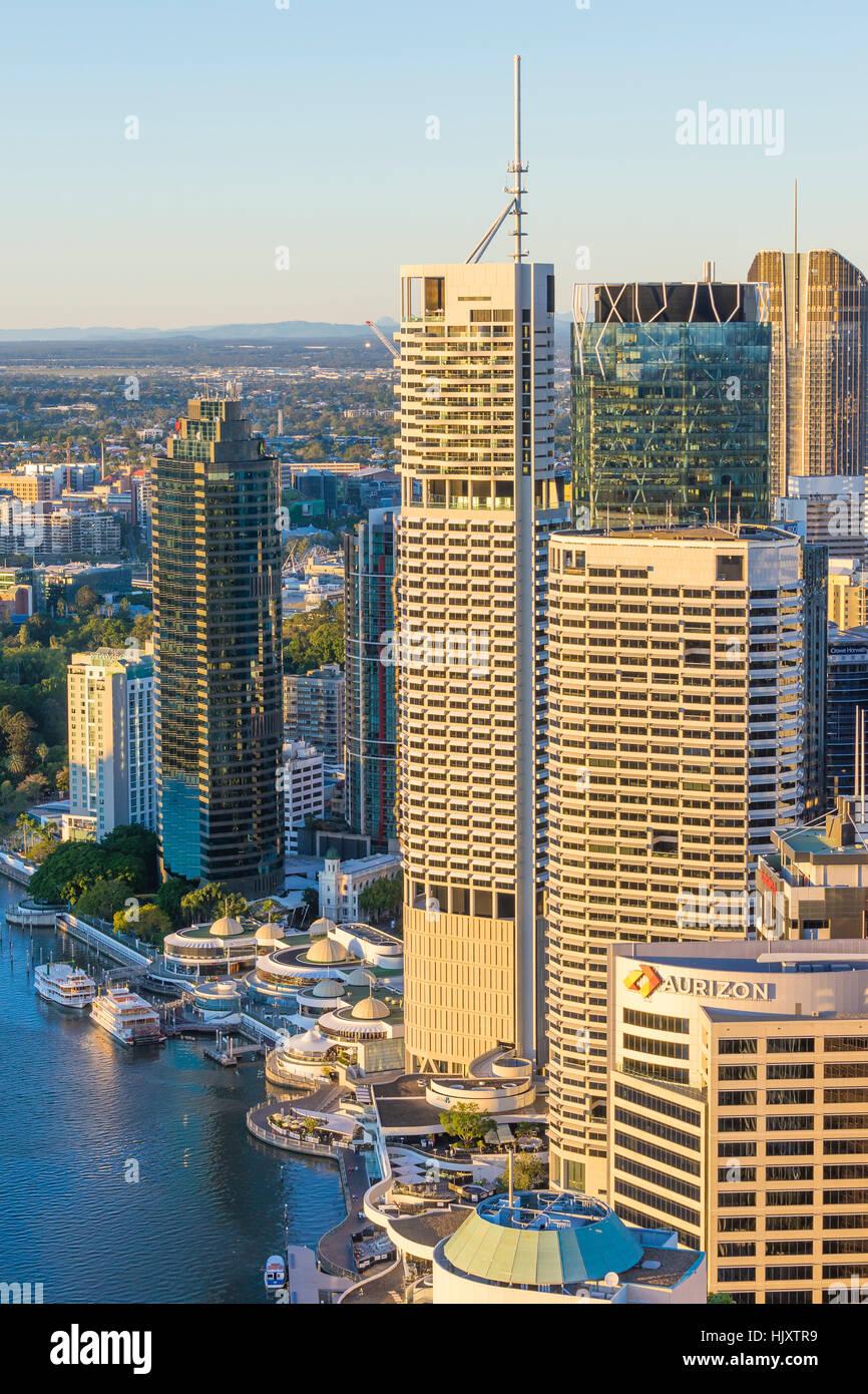 Brisbane CBD at sunrise - Stock Image