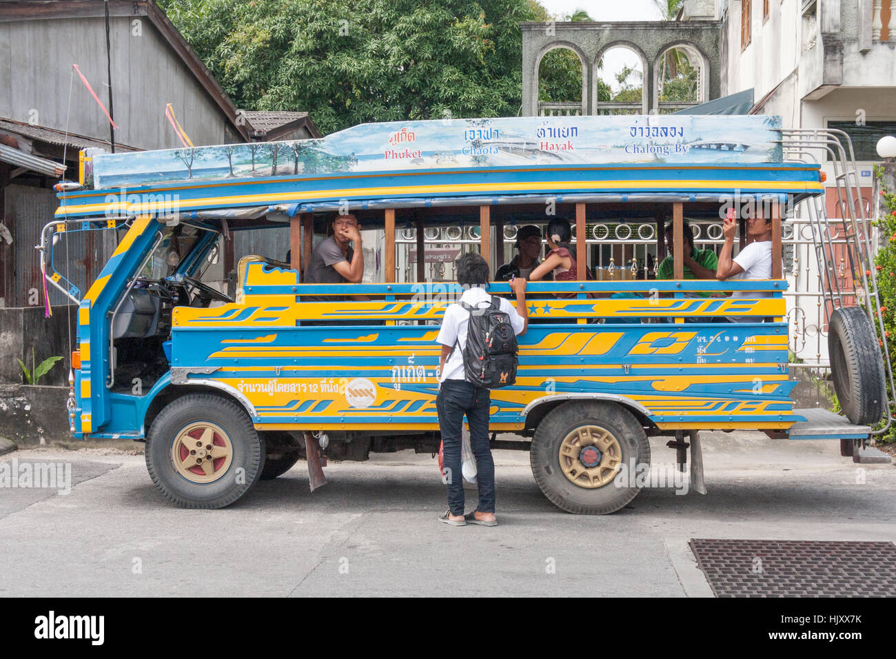 Bus transport passengers in old Phuket Town, Thailand Stock Photo