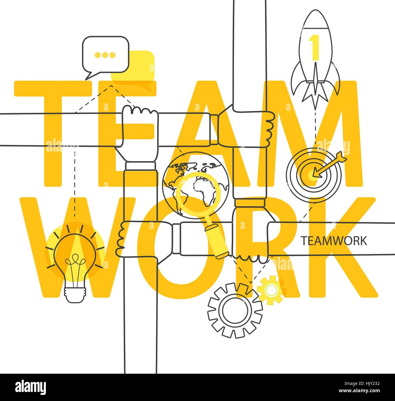 Modern thin line infographic of teamwork concept. For web, internet, mobile apps, interface design. - Stock Image