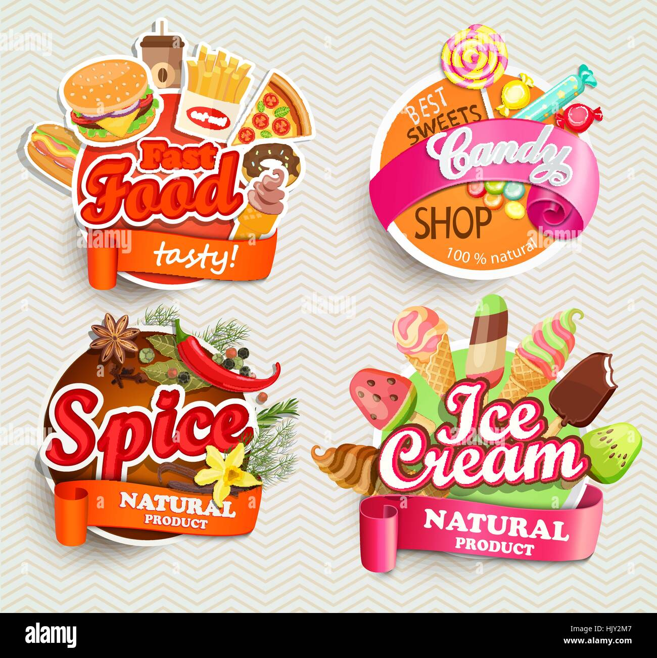 Food and drink elements, Typographical Design Label or Sticker