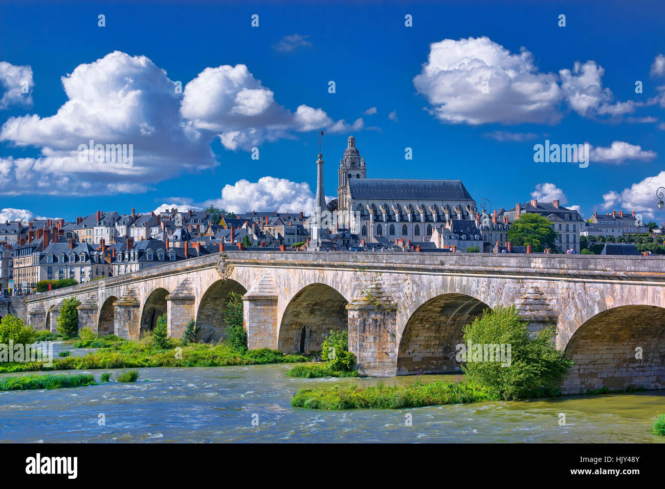 the town of Blois and Loire river, France - Stock Image