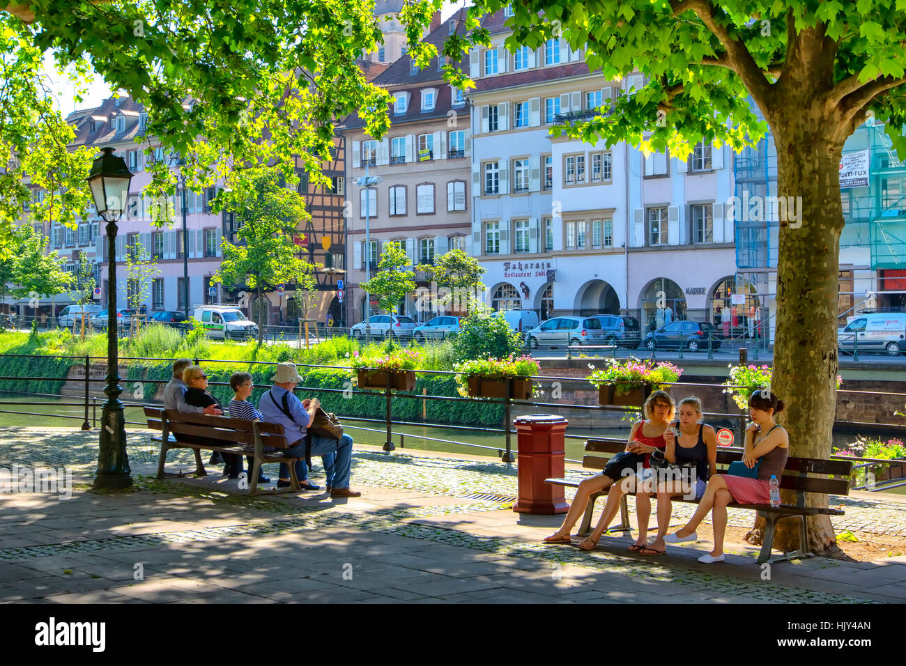 Houses along river Ill in Strasbourg - Stock Image