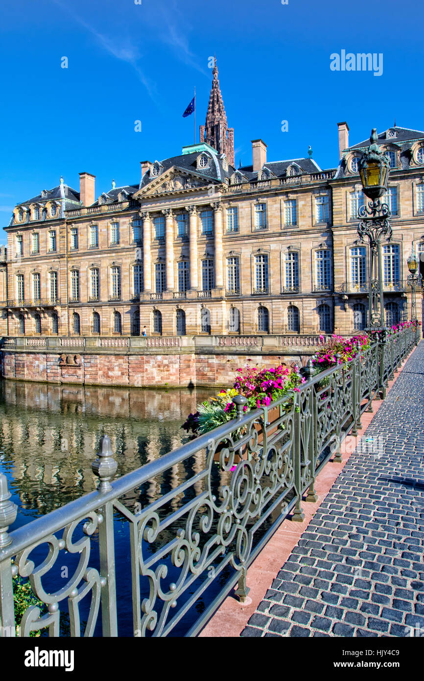 Rohan Palace and River Ill, Strasbourg - Stock Image