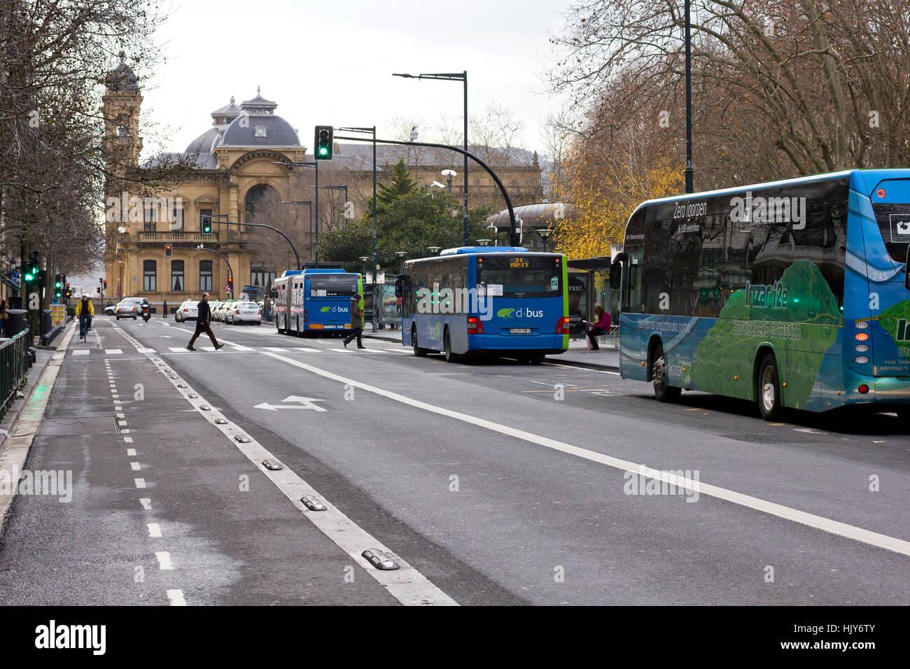 Different type of transportation (Donostia 2017). - Stock Image