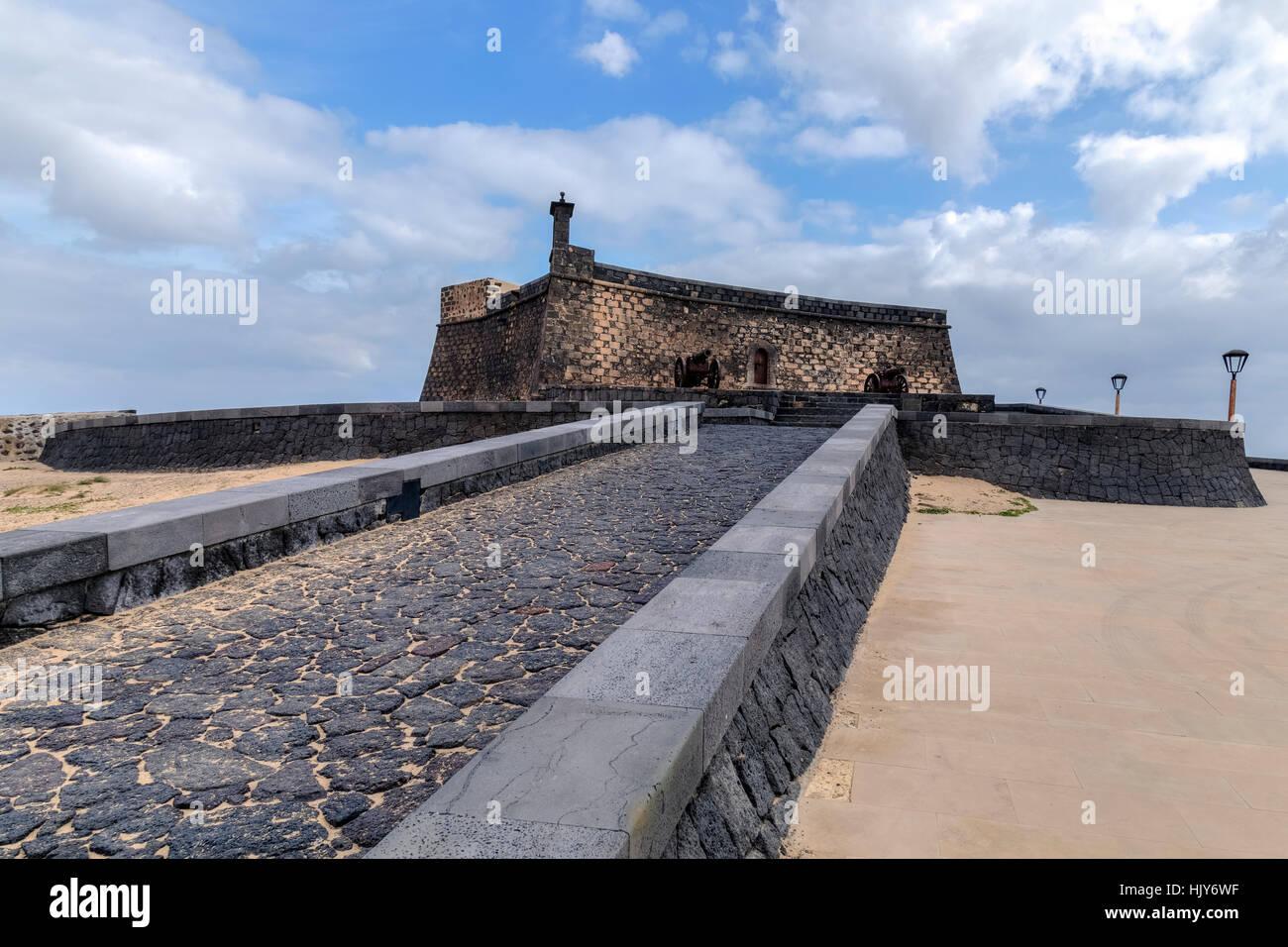 Castillo de San Gabriel, Arrecife, Lanzarote, Canary Islands, Spain - Stock Image