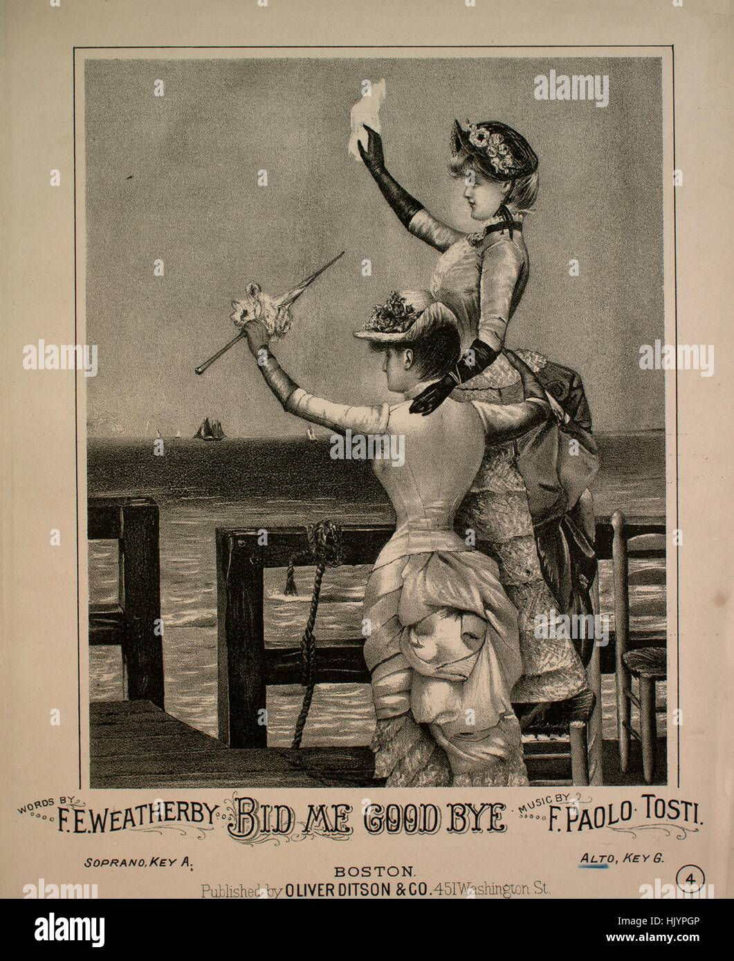 Sheet music cover image of the song 'Bid Me Good Bye', with original authorship notes reading 'Words - Stock Image
