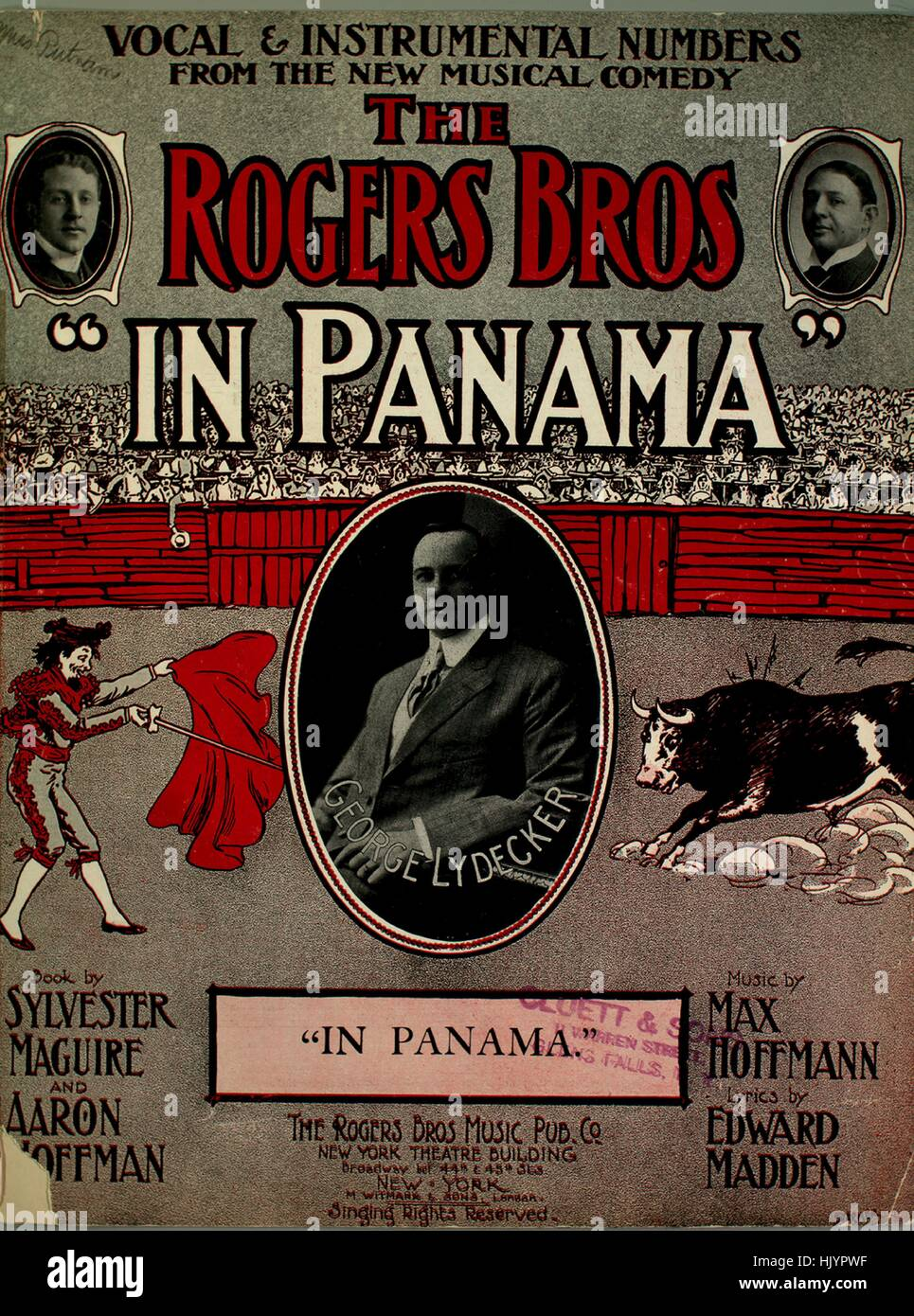 Sheet music cover image of the song 'In Panama', with original authorship notes reading 'Music by Max Hoffmann Lyrics Stock Photo