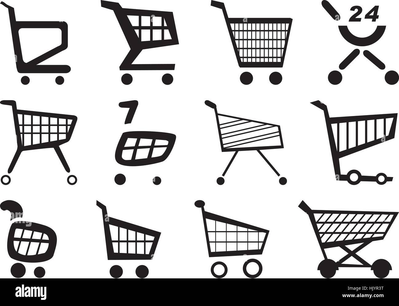 Pushing a shopping cart. Einkaufswagen. - Stock Image