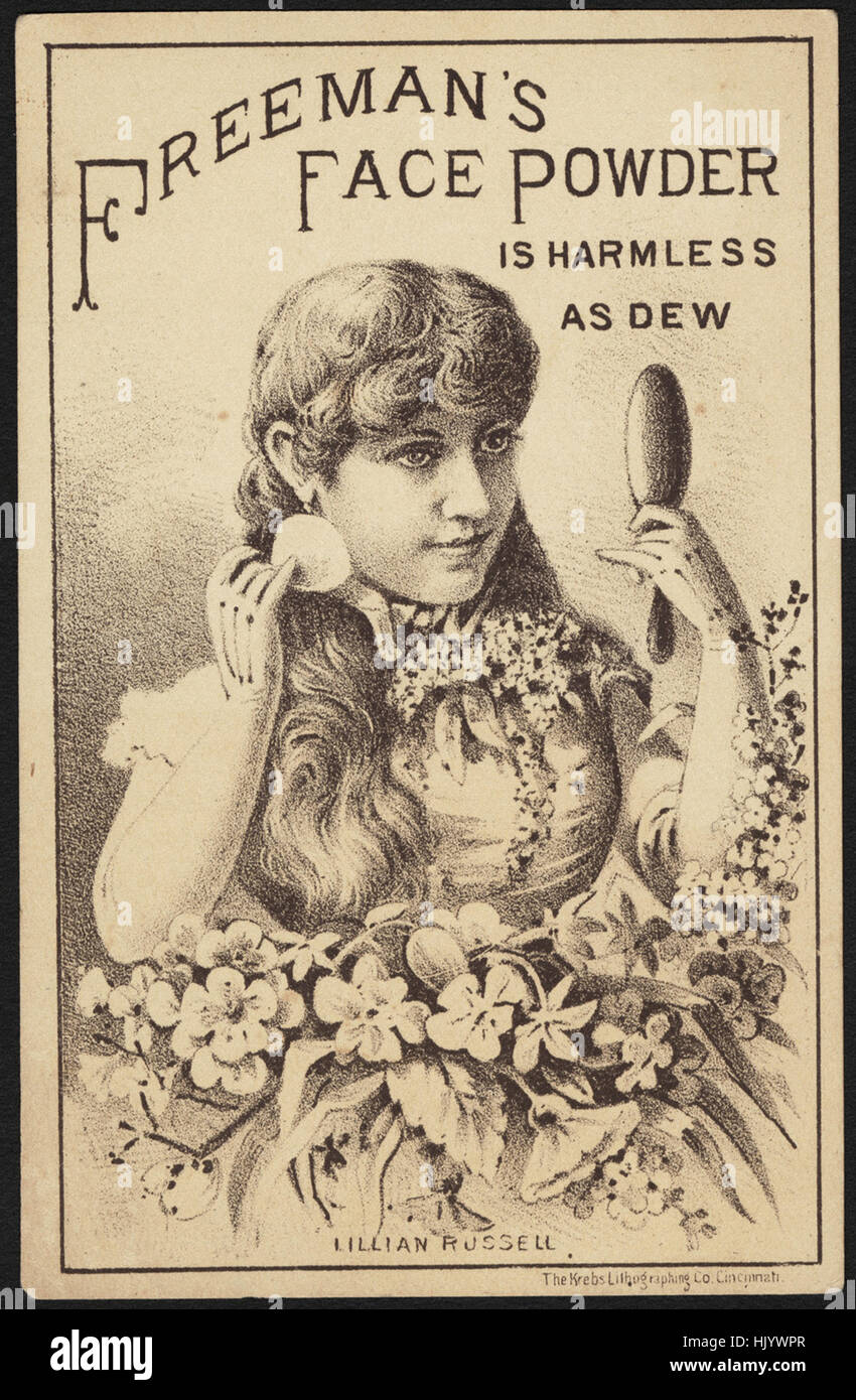 Freeman's Face Powder is harmless as dew. Lillian Russell. - Stock Image