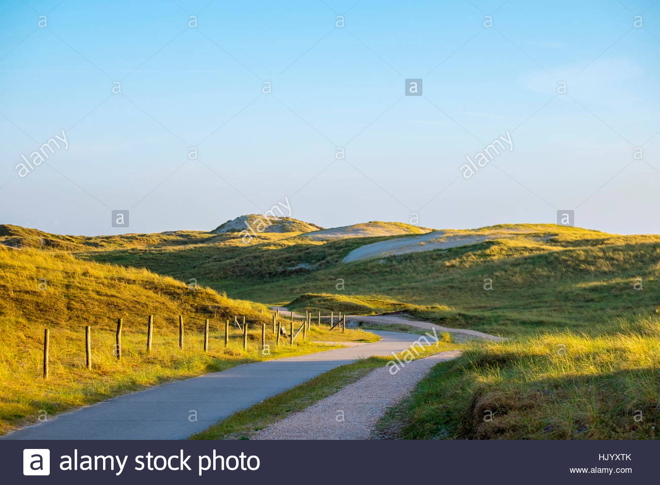 Netherlands, North Holland, Julianadorp. Bicycle and walking paths through the dunes. - Stock Image