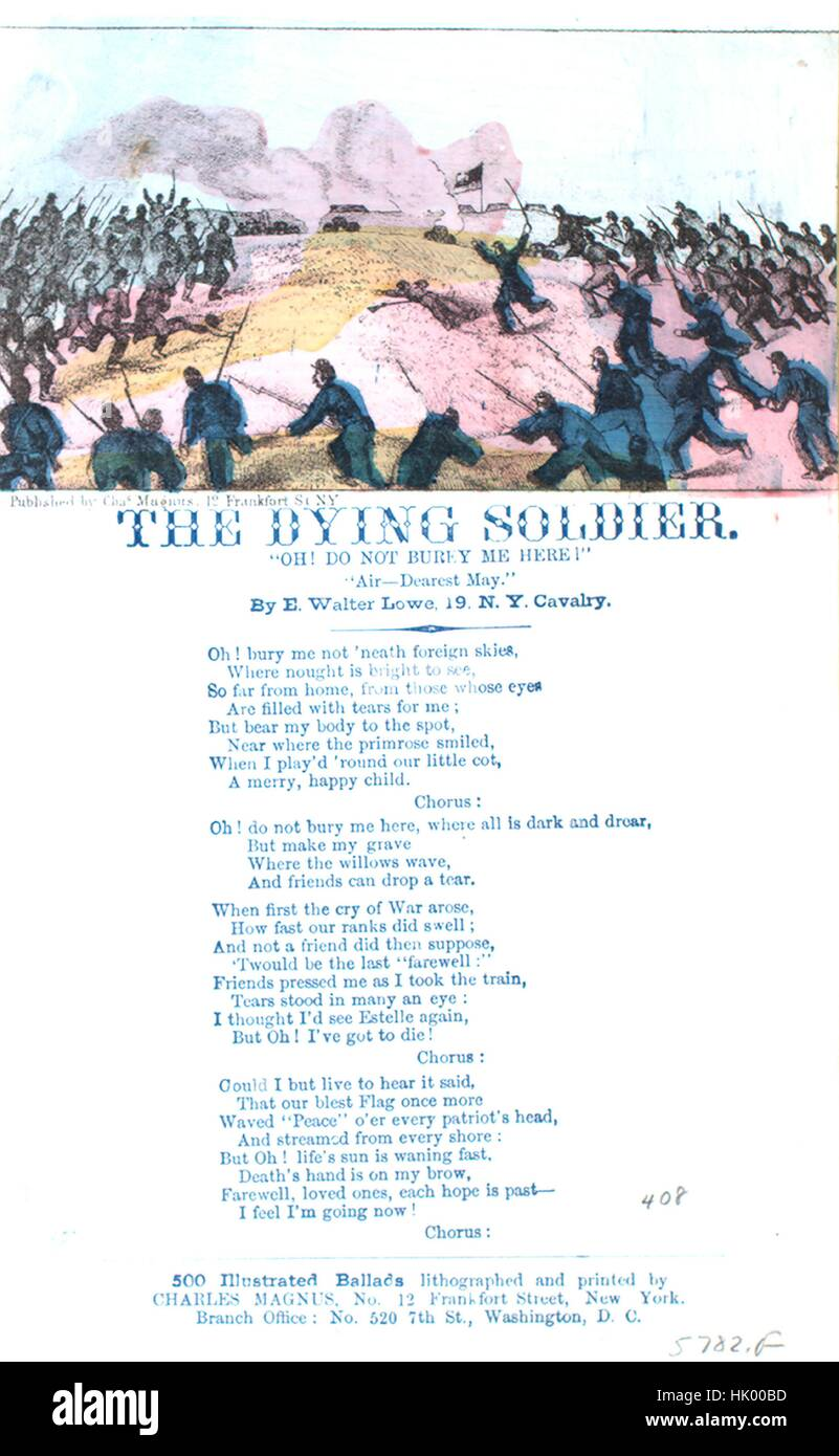 Sheet music cover image of the song 'Song Sheet  The Dying Soldier Do Not Burey [sic] Me Here!', with original - Stock Image