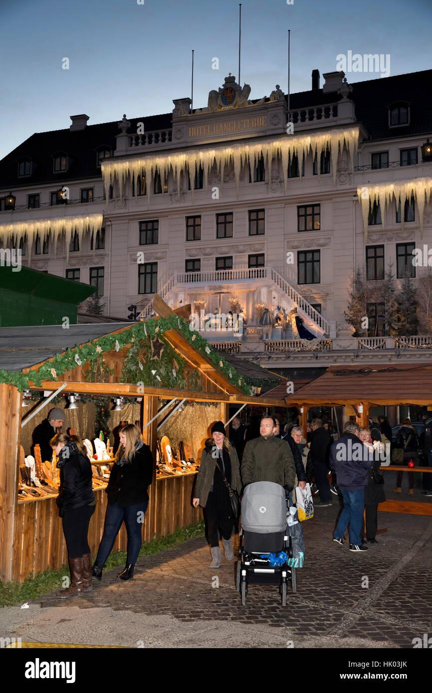 Denmark, Copenhagen, Kongens Nytorv, Hotel, d'Angleterre, nutcracker themed Christmas decorations on façade - Stock Image