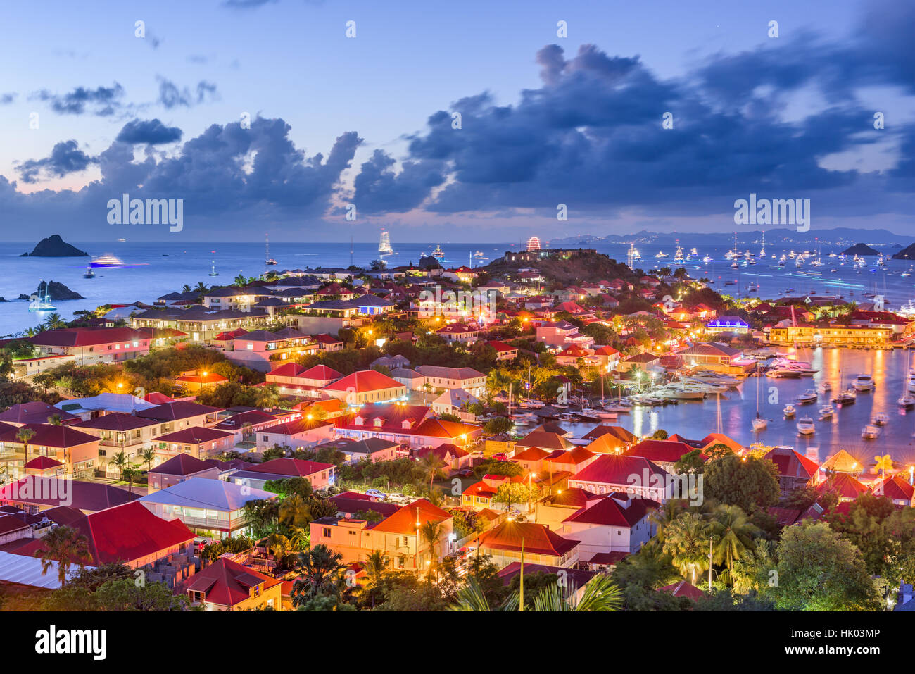 Saint Barthelemy skyline and harbor in the West Indies. Stock Photo