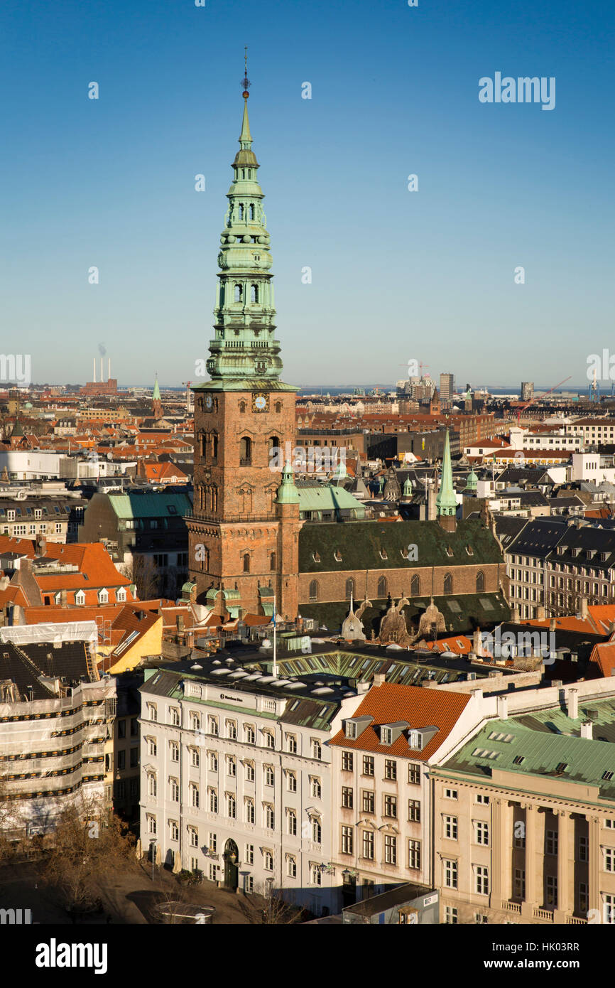 Denmark, Copenhagen, Spire of old Saint Nicolas' church, now St Nicolaj Kunsthal Contemporary Art Centre, elevated - Stock Image