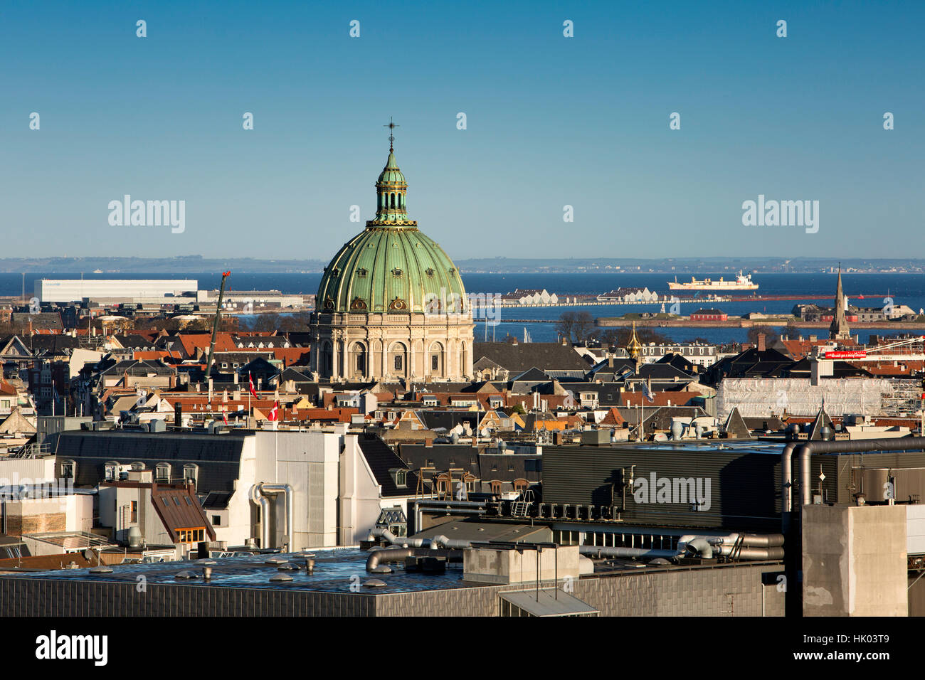 Denmark, Copenhagen, Green dome of Frederiks Kirke, Marble Church, elevated view from Christianborg Palace tower - Stock Image