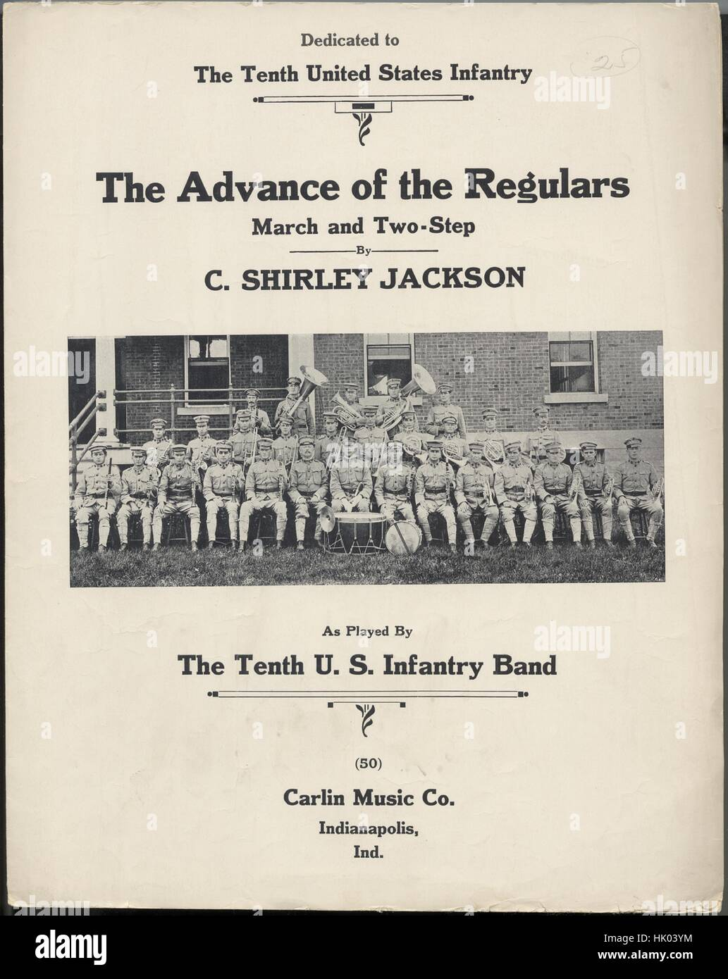 Sheet music cover image of the song 'The Advance of the Regulars March and Two-Step', with original authorship - Stock Image