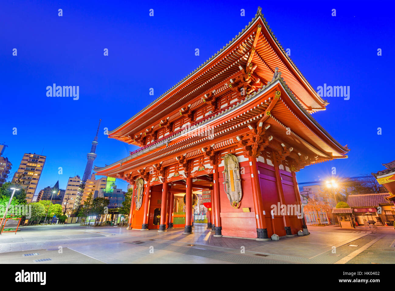 Sensoji Temple gate and Skytree Tower in Tokyo, Japan. - Stock Image