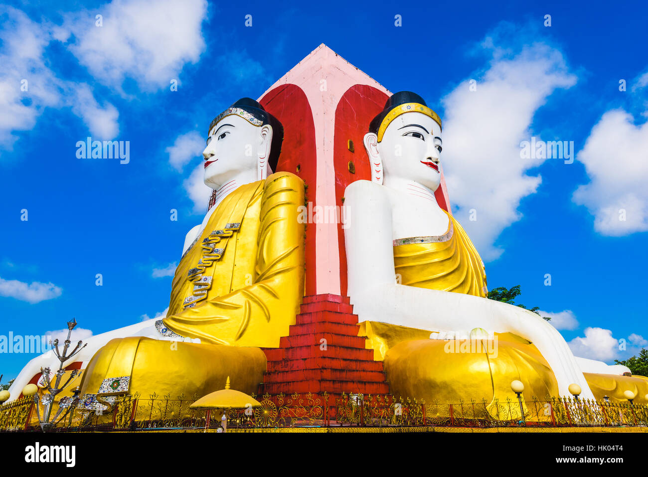 Bago, Myanmar Four Faces of Buddha at Kyaikpun Buddha. - Stock Image