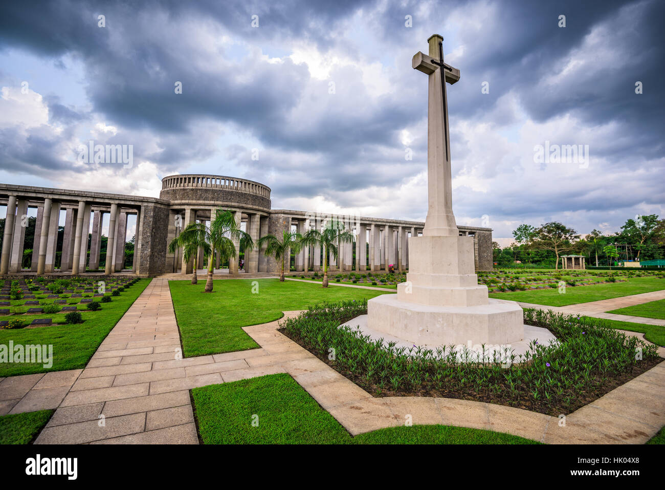 Taukkyan War Cemetery dedicated to allied losses during WWII near Yangon, Myanmar. Stock Photo