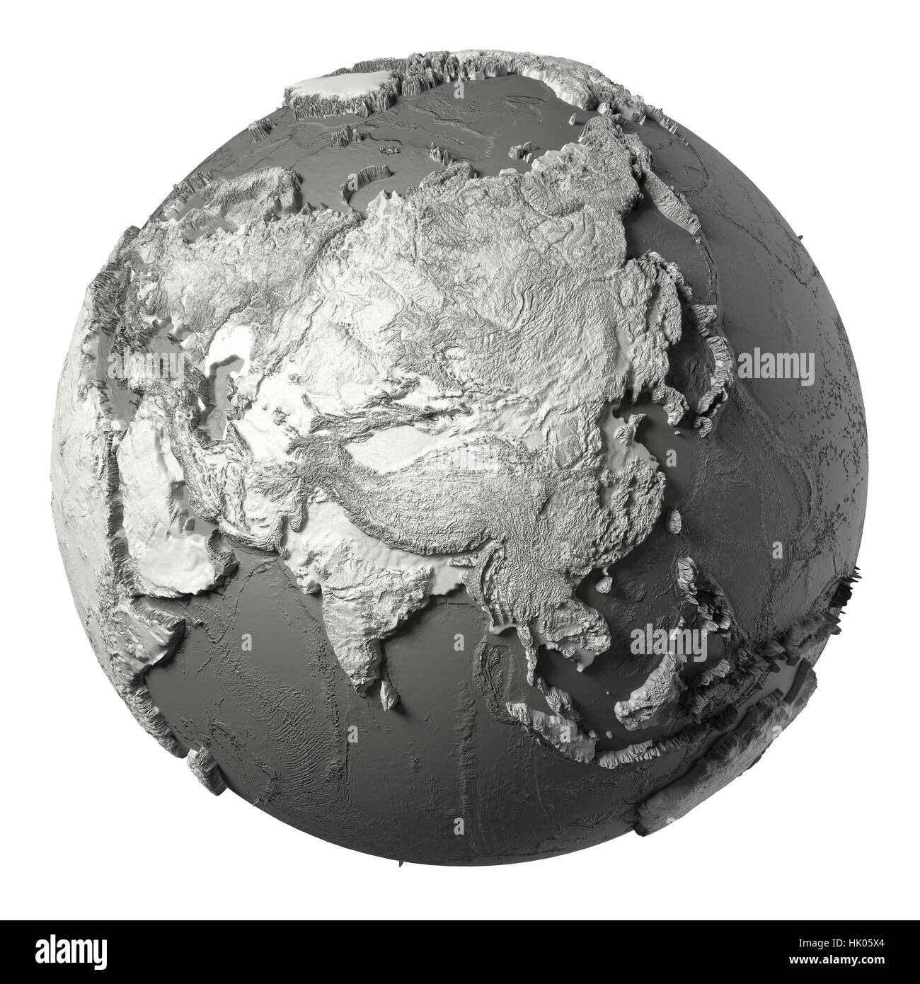 Globe model with detailed topography without water asia 3d stock globe model with detailed topography without water asia 3d rendering isolated on white background elements of this image furnished by nasa publicscrutiny Choice Image