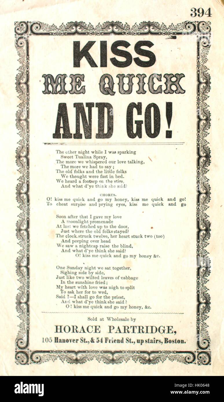 Sheet music cover image of the song 'Song Sheet  Kiss Me Quick and Go!', with original authorship notes - Stock Image