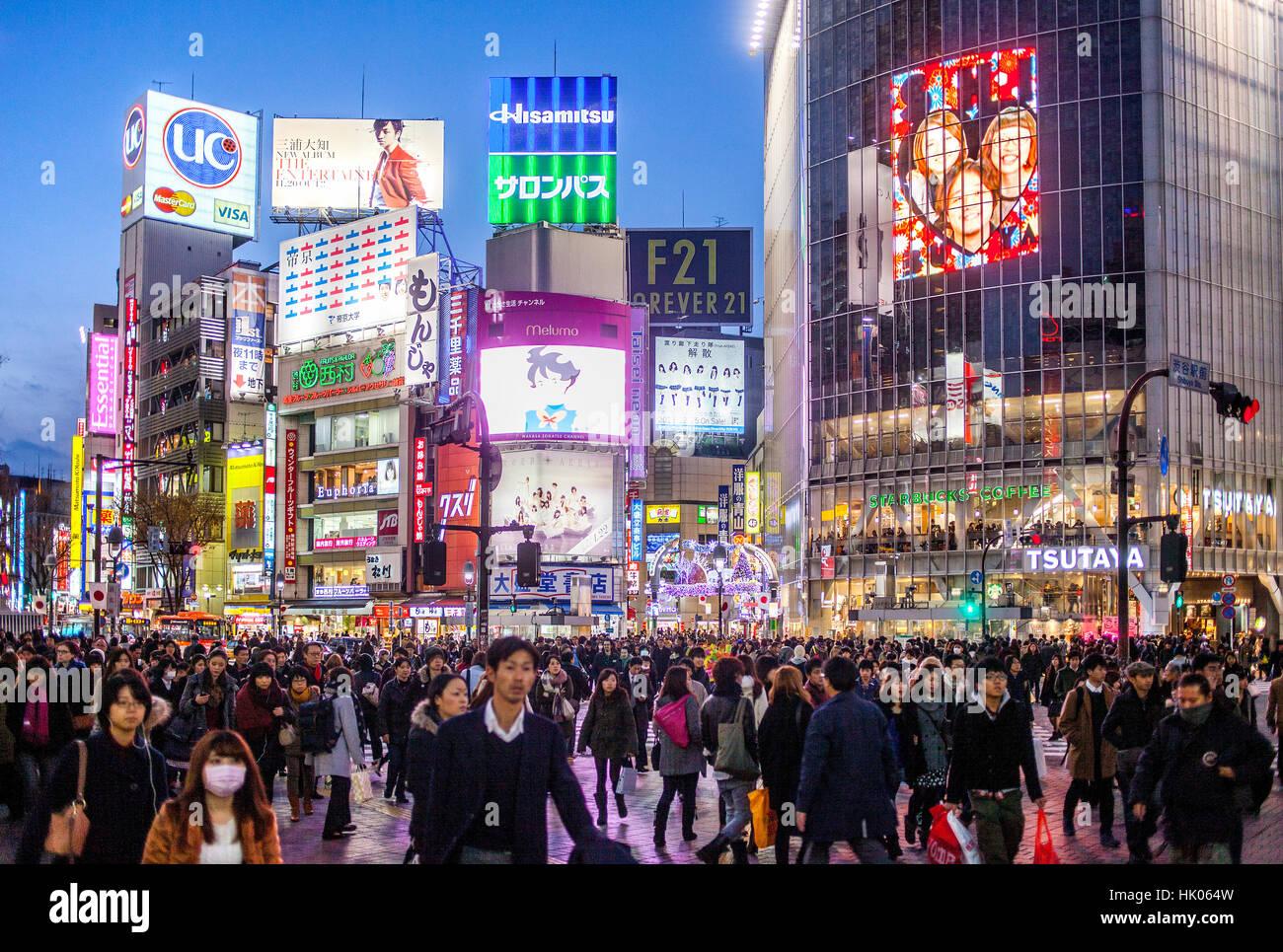 Townscape, Scramble Kousaten crossing in Hachiko square, Shibuya, Tokyo, Japan - Stock Image