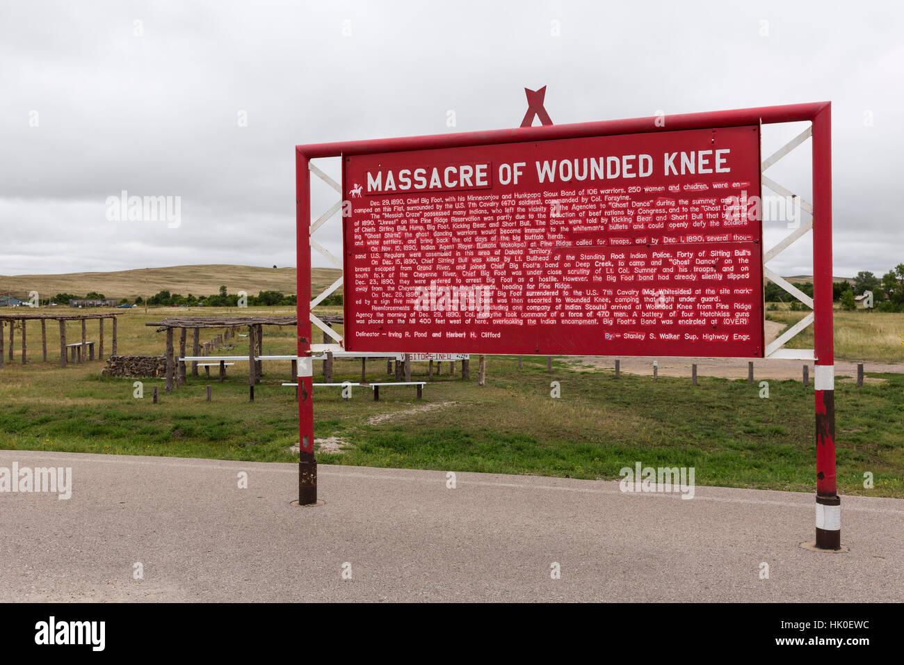 Sept, 2016. Wounded Knee Massacre site, South Dakota, USA Stock Photo