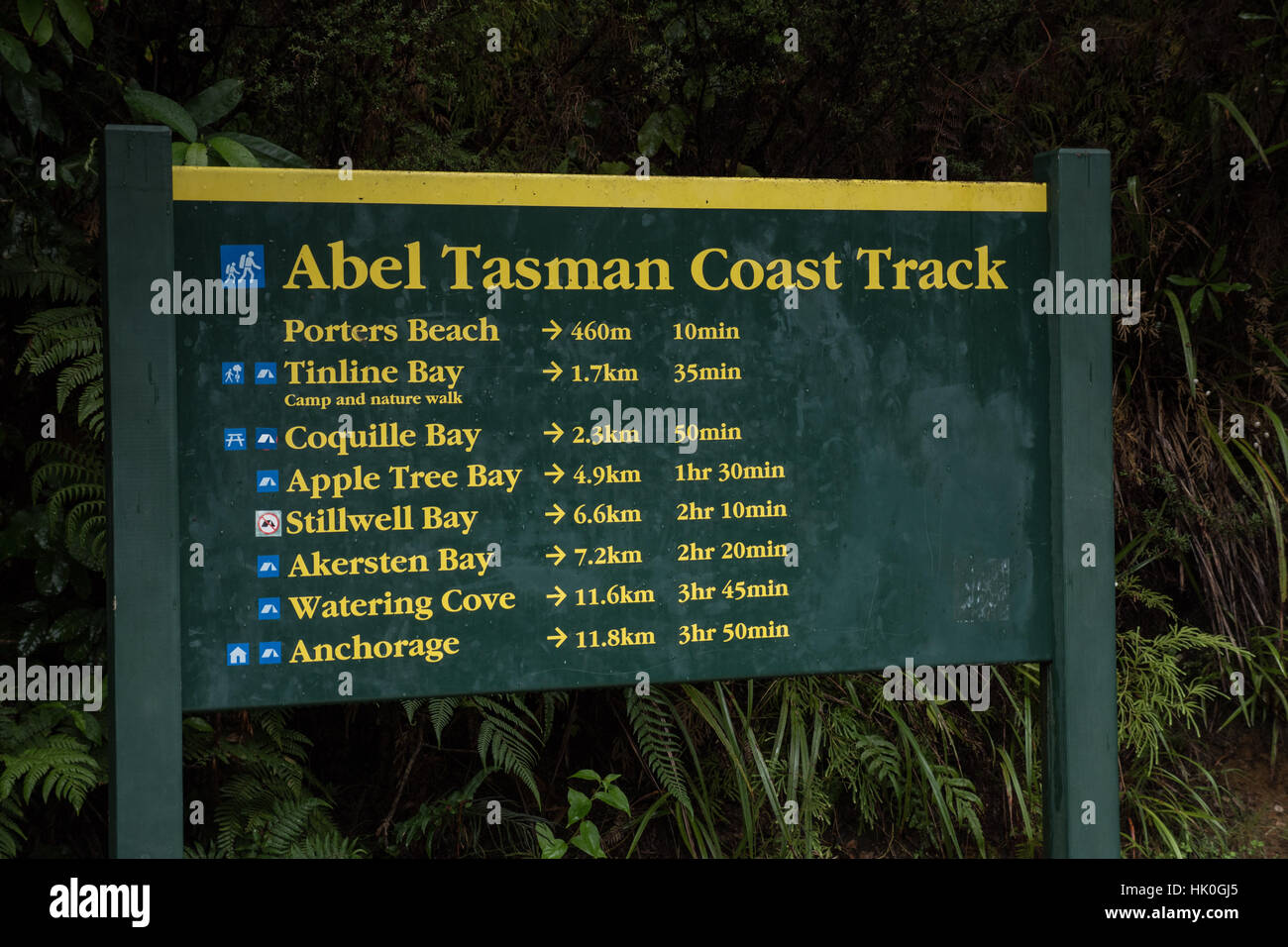 Information and direction signs.  Abel Tasman National Park, South Island, New Zealand. - Stock Image