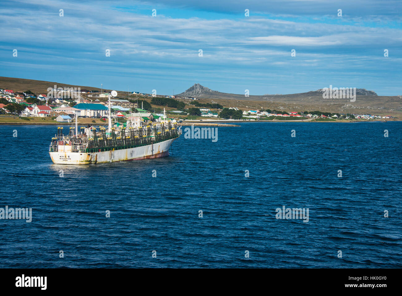 Chinese squid trawler in Stanley, capital of the Falkland Islands, South America - Stock Image