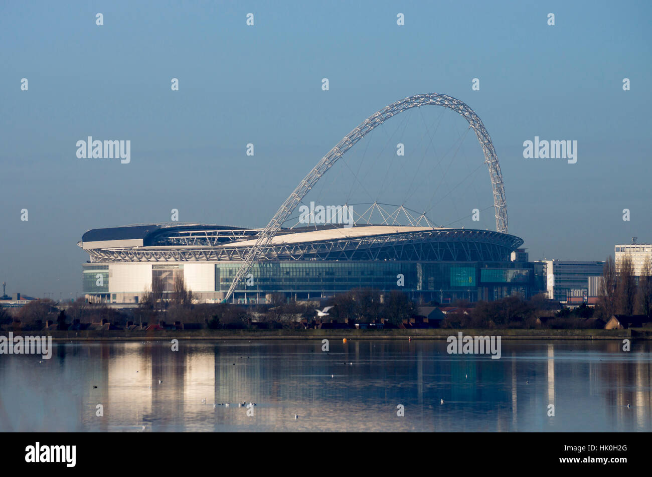 Wembley Stadium across Welsh Harp Lake, London, England, United Kingdom - Stock Image