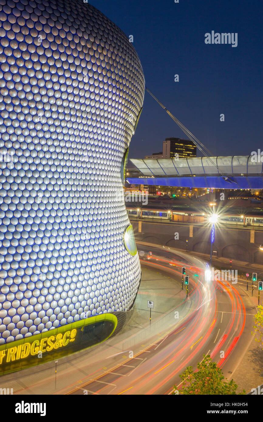 Bullring and Selfridges at dusk, Birmingham, West Midlands, England, United Kingdom - Stock Image
