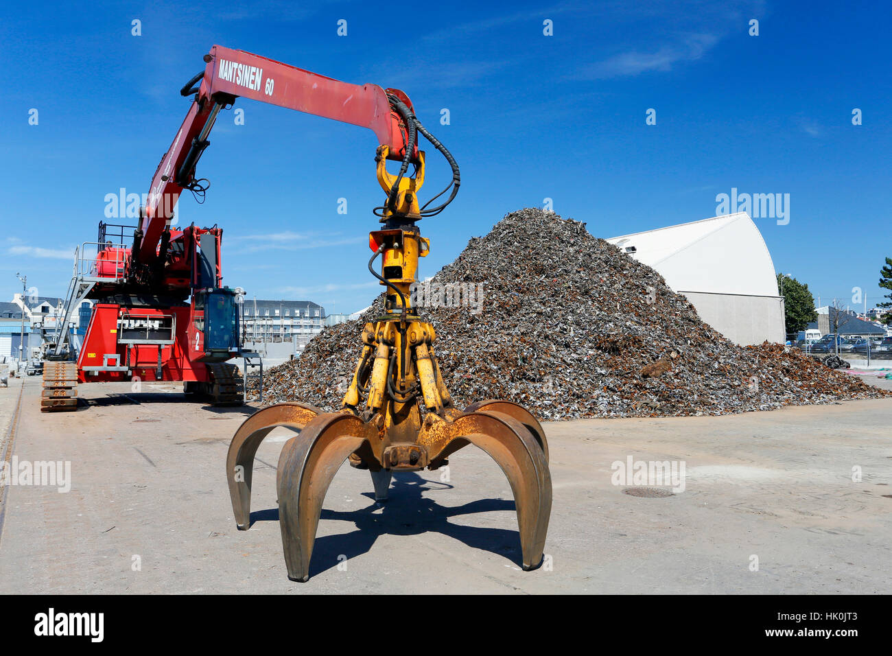 France, Normandy, Granville. The port. Scrap iron from household waste waiting to go to Russia or China for recycling. - Stock Image