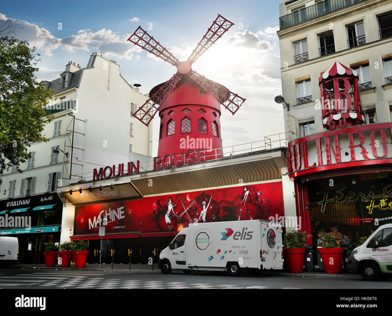 PARIS, FRANCE - AUGUST 24, 2016 : Nightclub Moulin Rouge in Paris at sunrise, France - Stock Image
