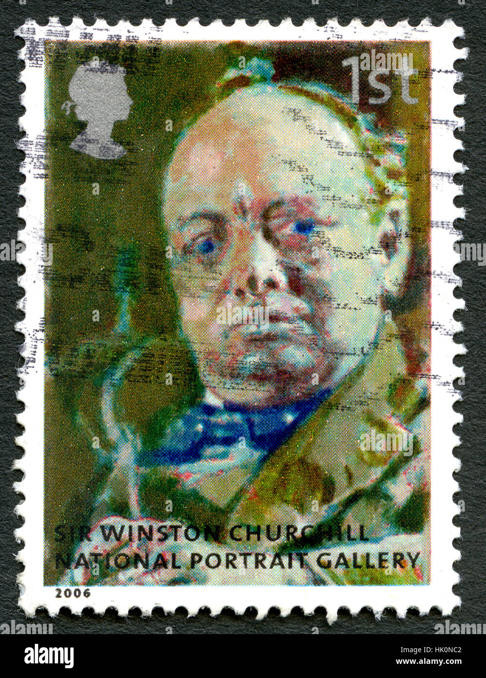 GREAT BRITAIN - CIRCA 2006: A used postage stamp from the UK, depicting a portrait of historic figure Sir Winston - Stock Image