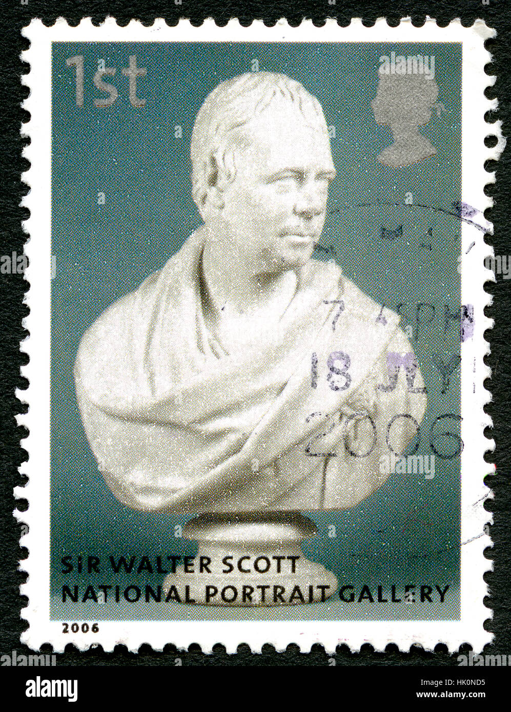 GREAT BRITAIN - CIRCA 2006: A used postage stamp from the UK, depicting an bust of novelist, playwright and poet - Stock Image