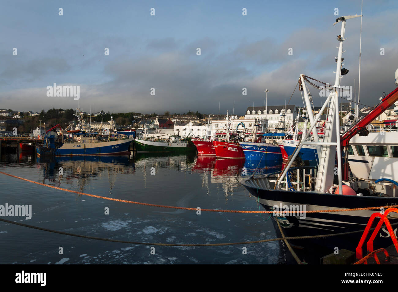 Fishing trawlers and boats in Killybegs Harbour, County Donegal, Ireland - Stock Image