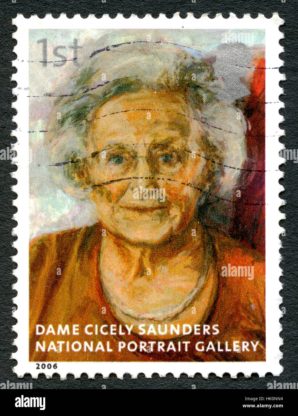 GREAT BRITAIN - CIRCA 2006: A used postage stamp from the UK, depicting an image of a painting of historic nurse - Stock Image