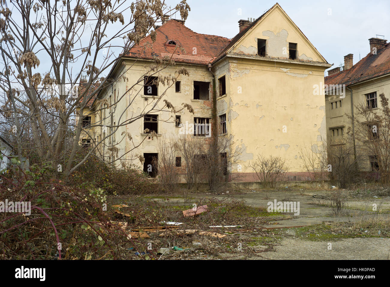 Derelict building in the centre of town in Nove Zamky Slovakia - Stock Image
