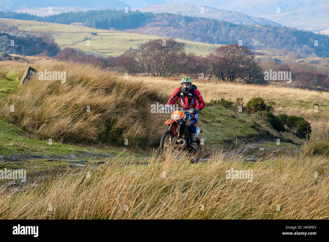 A man riding a dirt bike on a multi-use country track in Snowdonia National Park. Capel Curig, Conwy, Wales, UK, - Stock Image
