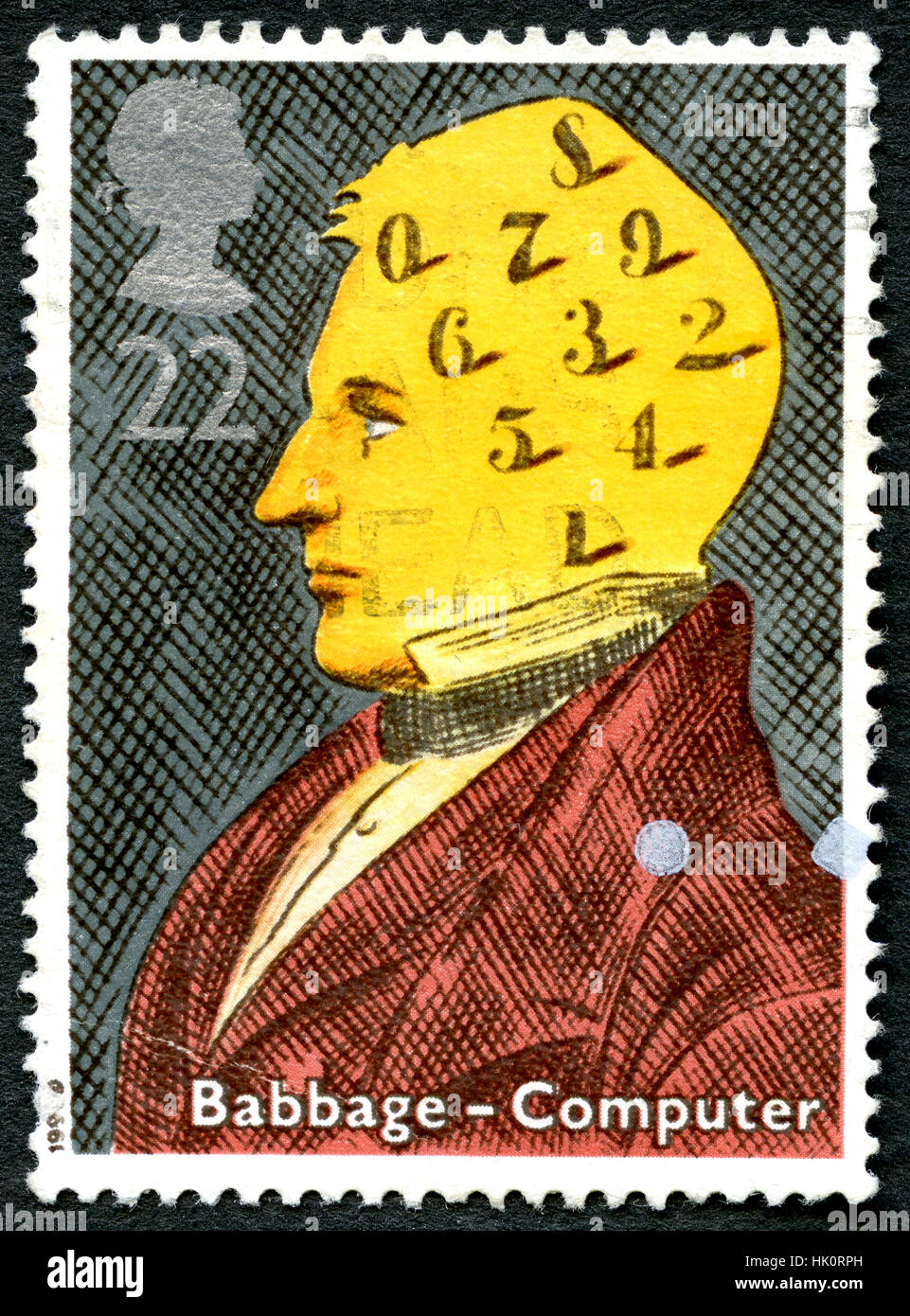 GREAT BRITAIN - CIRCA 1991 : A used postage stamp from the UK, commemorating the life of Charles Babbage - noted - Stock Image
