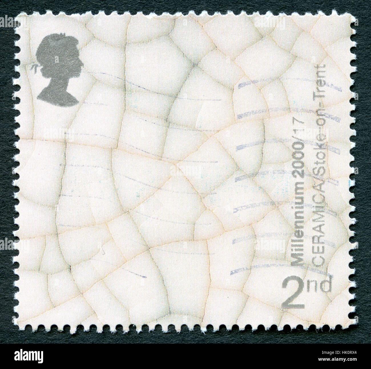 UK - CIRCA 2000: A used UK postage stamp, celebrating Ceramica - a museum in Burslem, Stoke-on-Trent. - Stock Image